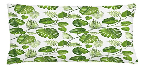 Ambesonne Leaf Throw Pillow Cushion Cover, Brazilian Rainforest Foliage Nature Ivy Swirls Palm Banana Trees Leaves Art Print, Decorative Square Accent Pillow Case, 36 X 16 Inches, Pale Green (Tree Shop Furniture Banana)