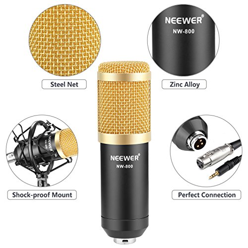 Neewer NW-800 Professional Studio Broadcasting & Recording Microphone Set Including (1)NW-800 Professional Condenser Microphone + (1)Microphone Shock Mount + (1)Ball-type Anti-wind Foam Cap + (1)Microphone Power Cable (Black) - Image 3