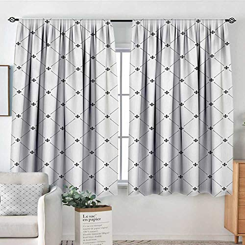 - Mozenou Fleur De Lis Thermal Insulating Blackout Curtain Shabby Chic Style Damask Pattern with Vintage Kitsch Geometric Diamond Lines Thermal Blackout Curtains 55