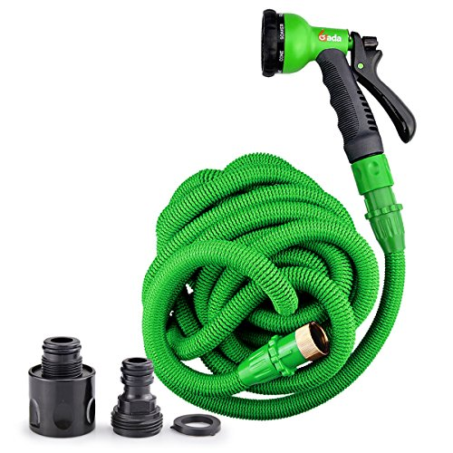 Gada All New 2017 Expandable Garden Hose Handy Kink Free With 8 Pattern Spray Gun 75ft Green