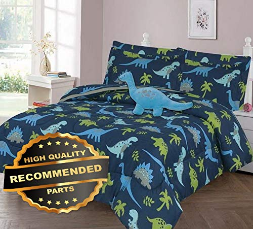 (Werrox Jurassic Dino Blue Comforter Bed Sheet Set Window Panel Valance for Kids Teens Size | Quilt Style)
