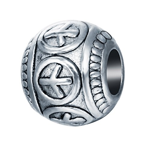 Qiandi 10pcs/lot Love Peace Symbol Bead Charm Bracelet Round Peace Sign DIY Jewelry Pendant Charms Making