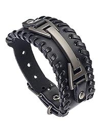 Hamoery Men Leather Bracelet Punk Braided Rope Alloy Bracelet Bangle Wristband