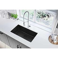 Kitchen Elkay Quartz Classic ELGRU13322BK0 Black Single Bowl Undermount Sink modern kitchen sinks
