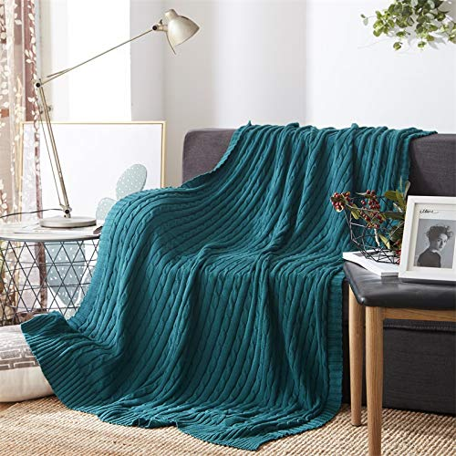 NuvoLe Home Cotton Knitted Throw Blankets, Soft and Cozy, Solid Textured Multi-Use Throw for Couch/Bed/Decor/Travel