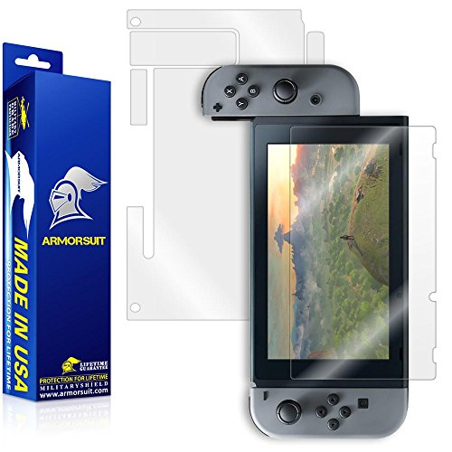 ArmorSuit - Nintendo Switch Screen Protector + Clear Full Body Back Protector MilitaryShield w/ Lifetime Replacements - Full Anti-Bubble Ultra HD Shield Invisibleshield Back Protector