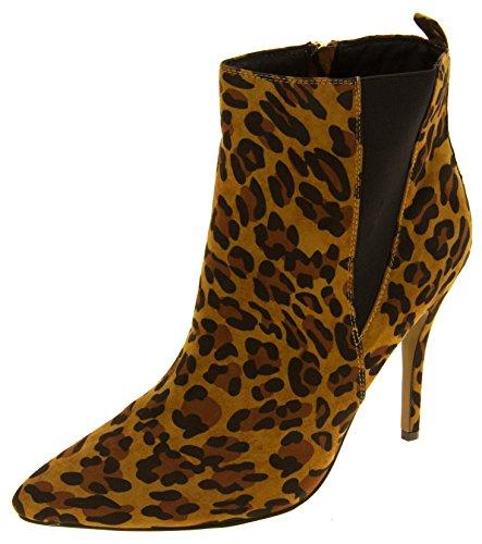 terciopelo Mujer del de del de dedo del Tacón tobillo apuntó pie Leopardo Ravel aguja botas las HqxHXwpr