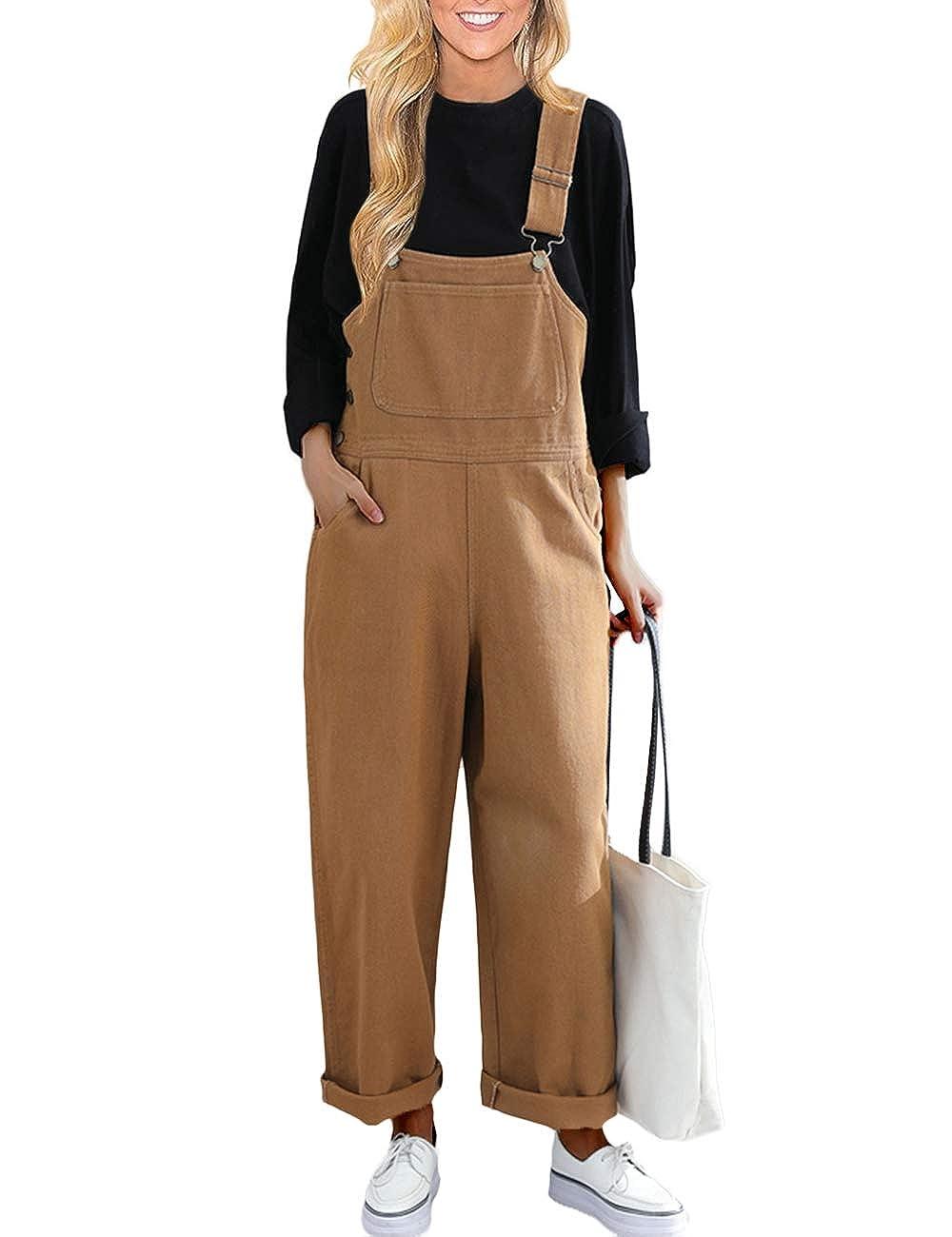 Innifer Womens Classic Casual Wide Leg Pants Denim Bib Overalls Jumpsuits