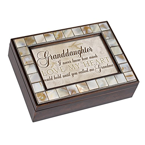 Cottage Garden Granddaughter Never Knew Mother of Pearl Amber Jewelry Music Box Plays Canon in D
