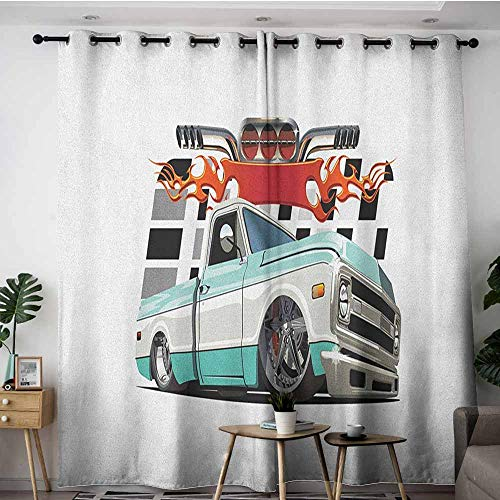AGONIU Window Curtain Panel,Truck Lowrider Pickup with Racing Flag Pattern Background Speeding on The Streets Modified,Energy Efficient, Room Darkening,W120x96L Multicolor ()