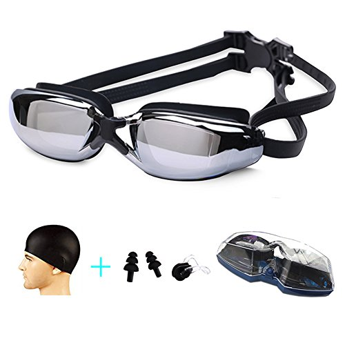Swim Goggles ,Swimming glasses Anti Fog No Leaking UV Protection Bundle with Silicone Swim Cap, Earplugs, Nose Clips for Men Women Adult Youth Kids Child