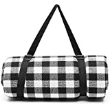 Simpeak 200x150cm Large Picnic Mat Pad Waterproof Mat, Premium Picnic Blanket Rug 200x150cm Outdoor Picnic Seat Cushion Mat Anti-Tide Heat Insulation Easy to Carry,Black and White,Red and White Plaid