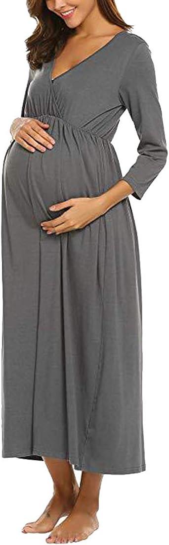 Gagacity Nachthemd f/ür Schwangere Frauen Stillen Nachthemd Stillkleid Nachtw/äsche Maxi-Kleid