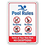 "pool rules sign Pool Rules - Swim at Your Own Risk Sign - 10""x14"" - .040 Rust Free Aluminum - Made in USA - UV Protected and Weatherproof - A82-234AL"