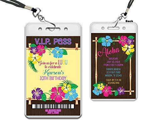 Luau VIP Pass Lanyard Birthday Invitation Hawaiian Tropical Party -