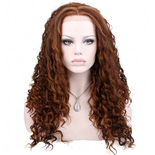 Wig Auburn Dark (KeeWig Synthetic Curly Lace Front Wig Piano Color Blend Medium Dark Brown Strawberry Blonde Light Auburn TRACY #P4/27/30)