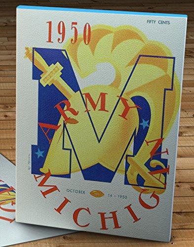 Yankee Stadium Wood - 1950 Vintage Army-Michigan Football Program - Yankee Stadium - Canvas Gallery Wrap - 12 x 16