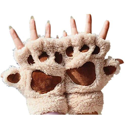 MizHome Cat Bear Plush Claw Paw Mitten Soft Winter Gloves Costume Beige -