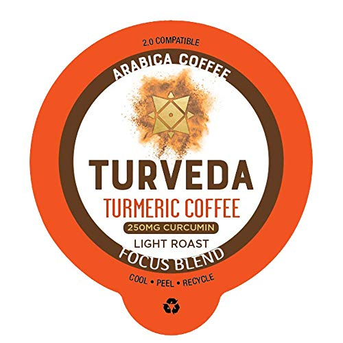 - TURVEDA Focus Blend Golden Coffee Pods | 12ct Turmeric Curcumin Infused Premium Coffee | Light Roast 250mg Curcuminoids Per Pod | Keto, Paleo, Whole30 | Compatible with K-Cup Brewers including 2.0