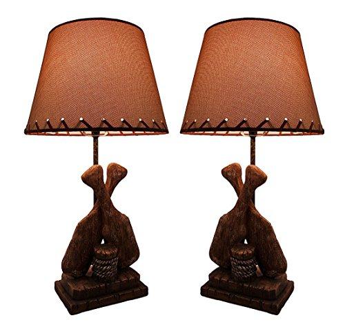 Pair of Rustic Boat Oars Nautical Table Lamps w/Burlap Shade