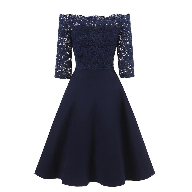 Binggong Damen Bluse Damen Abendkleid Elegant Cocktailkleid Vintag ...