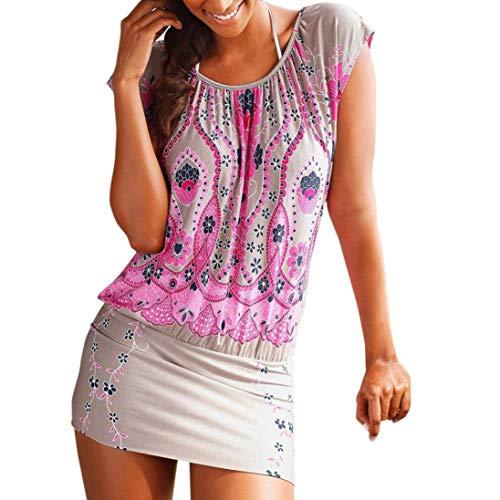 HYIRI Fashion Womens Casual Short Sleeve Retro Print O-Neck Beach Mini Dress Tops