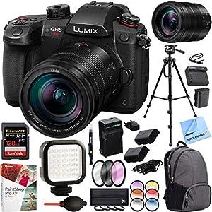 Panasonic LUMIX GH5S 10.2MP C4K Mirrorless ILC Digital Camera DC-GH5S and Lumix G Leica DG Vario-Elmarit 12-60mm F/2.8-4.0 Lens Bundle with 128GB Memory Backpack Tripod Extra Battery Kit & More
