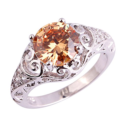 Eternity Ring Design Floral (Psiroy 925 Sterling Silver Created Morganite Filled Floral Cocktail Anniversary Ring)