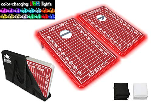 (PartyPongTables.com Party Toss Kansas City Football Field with LED Lights Cornhole Boards & Bags Game Set with Color-Changing LED Lights - Kansas City Football)