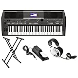 : Yamaha PSR-S670 61-Key Arranger Workstation Keyboard with Onboard Stereo Speakers and MegaVoice Articulation Technology with Keyboard Stand, Sustain Pedal and Headphones