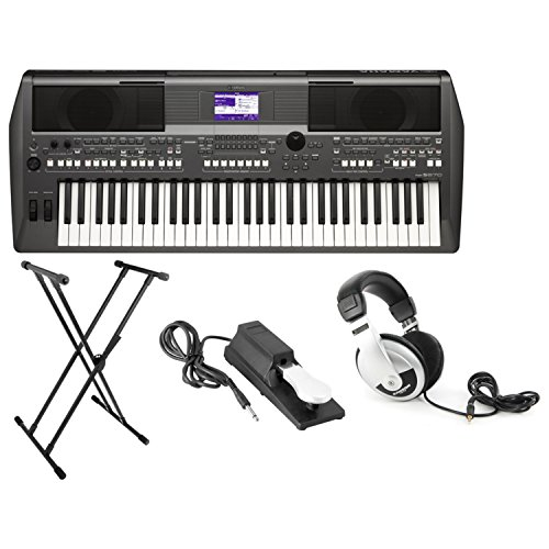 Yamaha PSR-S670 61-Key Arranger Workstation Keyboard with Onboard Stereo Speakers and MegaVoice Articulation Technology with Keyboard Stand, Sustain Pedal and Headphones (Yamaha Keyboard Workstation)