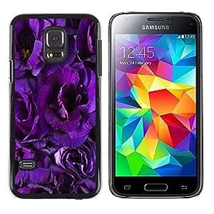 TopCaseStore / la caja del caucho duro de la cubierta de protección de la piel - Flower Blossoms Purple Petals Garden - Samsung Galaxy S5 Mini, SM-G800, NOT S5 REGULAR!