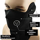 Winter Outdoor Windproof Black Neoprene Thermal Fleece Half Face Mask Facemask Scarf Snowboard Snowmobile Snow Ski Sled Motorcycle Cycling Bike Hiking Skateboard & More
