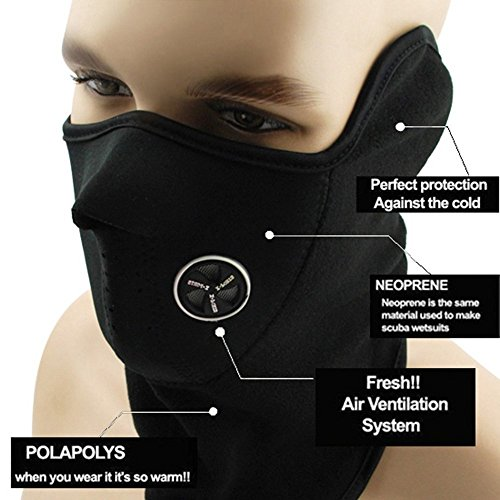 Winter Outdoor Windproof Black Neoprene Thermal Fleece Half Face Mask Facemask Scarf Snowboard Snowmobile Snow Ski Sled Motorcycle Cycling Bike Hiking Skateboard & ()