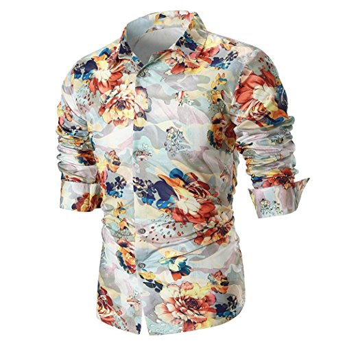 Slim Fit Cream - iLXHD Fashion Men's Personality Slim Fit Casual Long Sleeve Printed Shirt Blouse(Beige,M)