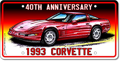 1993 40th Anniversary Special Edition Corvette License Plate Art