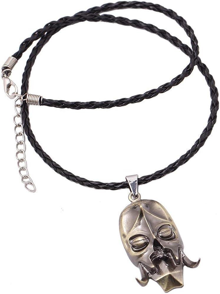 Game Elder Scrolls Dragon Skull Metal Leather Necklace For Male Konahrik Neckless Colar Masculino Pingente Choker Necklet