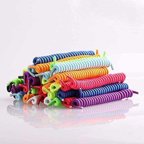 Coobbar 10 Pair Curly Elastic Shoelaces No Tie Trainer Kids Shoe Laces Colours for Childs and Adults Best in Sports Flat Shoelace -