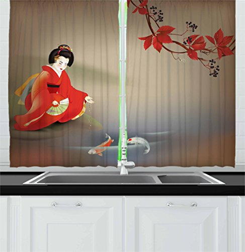Oriental Curtain - Lunarable Koi Fish Kitchen Curtains, Woman in Autumn Time Eastern Vibes Oriental Composition, Window Drapes 2 Panel Set for Kitchen Cafe, 55 W X 39 L inches, Sepia Multicolor