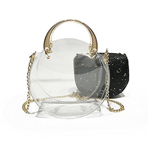 Crossbody Black Inner NFL Tote Clear Transparent Waterproof Bag Inner Shoulder With Stadium Bag Purse Messenger Handbag with Round Clear Bag Sequins Approved 4SwUq5U
