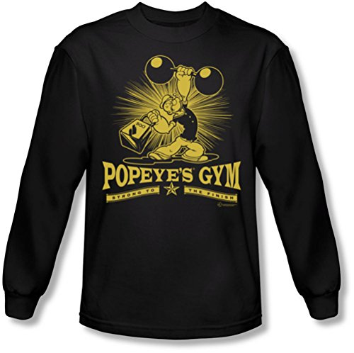 Popeye - Mens Popeyes Gym Long Sleeve Shirt In Black, X-Large, - Gym Popeyes