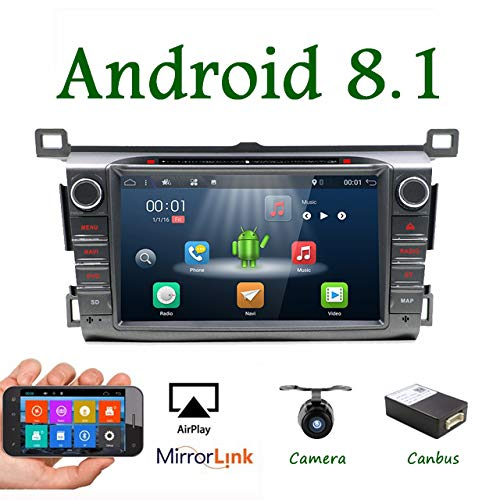 8 Inch 2G RAM Android 7.1 Double din Car Stereo GPS Radio for Toyota RAV4 2013-2015 Touch Screen GPS Navigation Audio Support DAB OBD TPMS FM AM SWC LCD Monitor Head Unit with Camera&Canbus