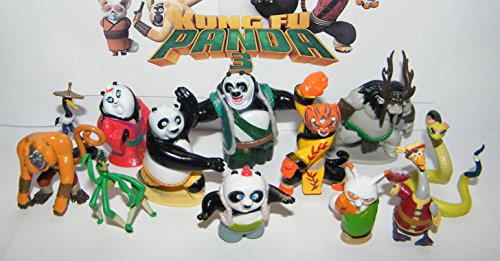 Kung Fu Panda Mini Figure Toy Set of 13 with the Furious 5, Evil Spirit Kai, Po, Master Shifu, Mr. Ping, New Pandas and More!