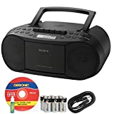 Sony Portable Stereo Boombox with MP3 CD Player, AM/FM Radio, Cassette Recorder, Headphone & Auxiliary Jack, Mega Bass, 30 Presets & 3 Favorites + Sonic AUX Cable, Alkaline Batteries & CD Lens Cleaner