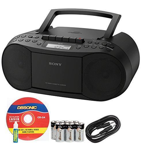 Sony Compact Portable Stereo Sound System Boombox with MP3 CD Player, Digital Tuner AM/FM Radio, Tape Cassette Recorder, Headphone Output & 3.5mm Audio Auxiliary input Jack to connect any iPod, iPhone or Digital Audio Device - Features: Mega Bass Reflex Speakers, 20 Track RMS Programming, 30 Presets, LCD Display, Auto Scan Tuning, Synchronized Dubbing & Recording *Bonus DB Sonic AUX Cable, Alkaline Batteries & CD Laser Lens Head Cleaner Included*
