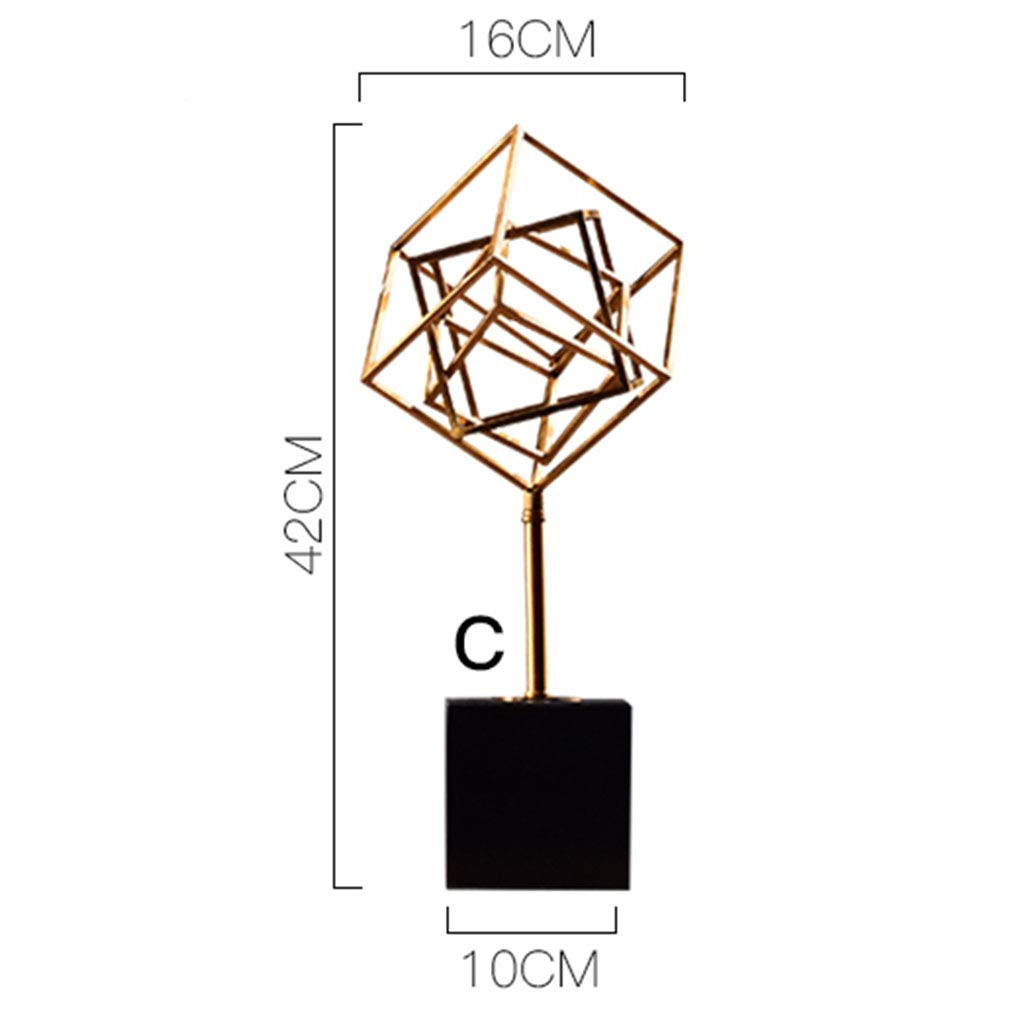 Metal Ornaments for The Home-Metal Geometric Three-Dimensional Ornaments Wrought Iron Study Room Office Creative European Furnishings 6018 (Size : C)