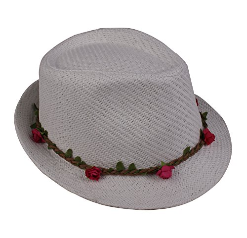 JIERKU Adult White Fedora Hat Short Brimmed Hat Breathable Summer Hat (Olive Pinstripe Suit)