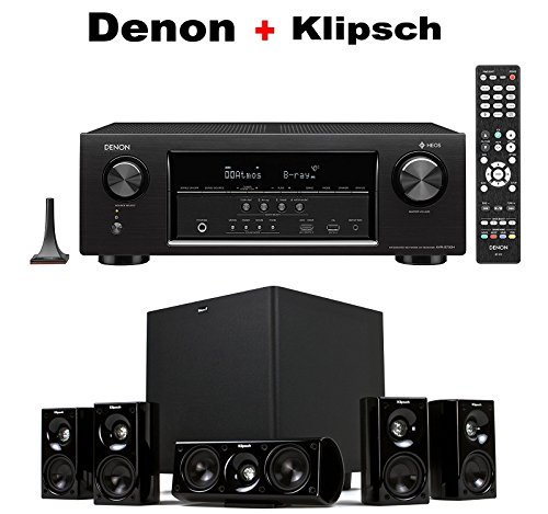 Denon Audio & Video Component Receiver Black (AVRS730H) + Klipsch HDT-600 Home Theater System Bundle