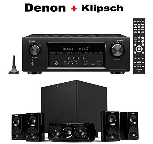Denon Audio & Video Component Receiver Black (AVRS730H) + Klipsch HDT-600 Home Theater System Bundle