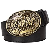 Llcamc New Fashion Men'S Leather Belt Wild Cowboy Belt Western Cowboy Style Hip Hop Rock Jeans Strap Metal Belt Black 115Cm